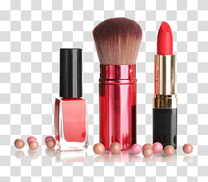 three assorted makeup products, Lipstick Cosmetics Brush, Women make up supplies PNG clipart