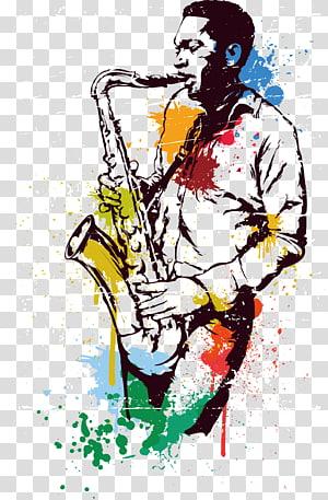 man playing saxophone illustration, Alto saxophone Musical instrument, Watercolor Saxophone PNG