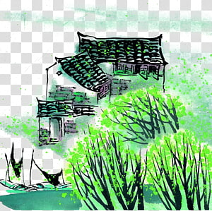 Watercolor painting Ink wash painting, Water Jiangnan Water Village PNG clipart