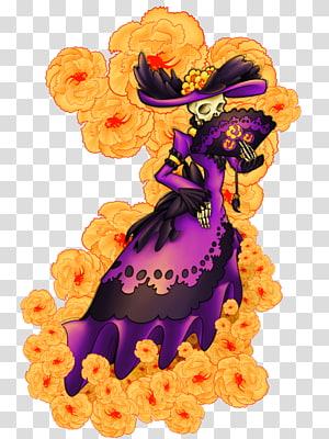 skeleton in purple dress illustration, La Calavera Catrina Literary Calaverita Day of the Dead Mexico, charming PNG