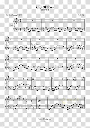 Sheet Music Musical notation Piano Song City Of Stars, sheet music PNG clipart