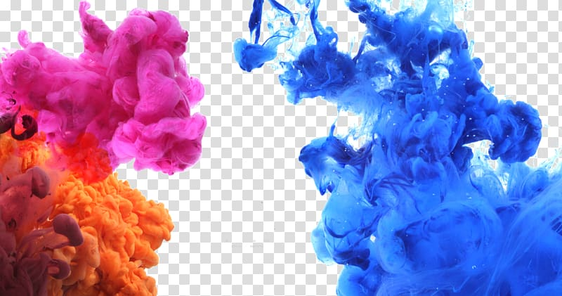 Color Acrylic paint Ink, Water blooming color ink, blue and pink smoke graphic PNG clipart