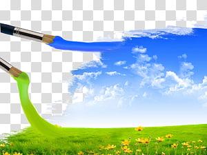 Brush Landscape painting Sky, Creative watercolor pen natural beauty PNG clipart