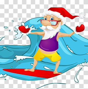santa surfing PNG clipart