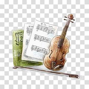 violin and sheet music PNG