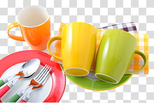 three assorted-color mugs and plates, Tableware Kitchen utensil Plastic Bowl, Kitchen utensils PNG