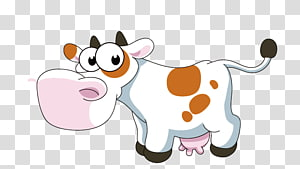 white abd brown cow illustration, Cattle Farm Cartoon Illustration, Dairy cow PNG