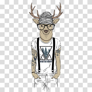 Drawing Tattoo Illustration, Fashion hand-painted deer PNG
