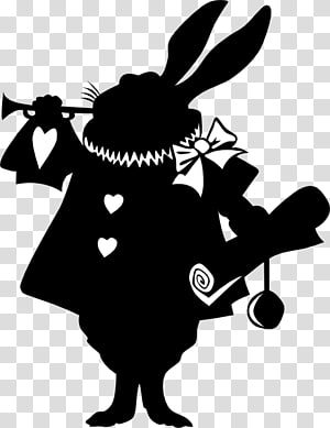 Alices Adventures in Wonderland White Rabbit The Mad Hatter Caterpillar March Hare, Bunny Silhouette PNG clipart