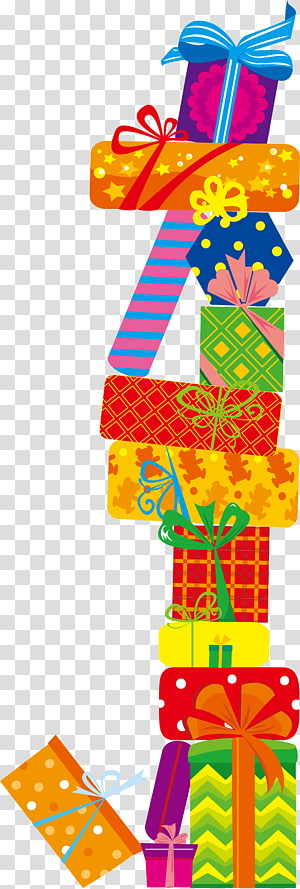 pile of Christmas gift boxes, birthday present PNG clipart
