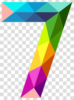 Icon , Colourful Triangles Number Seven , multicolored geometric 7 PNG clipart