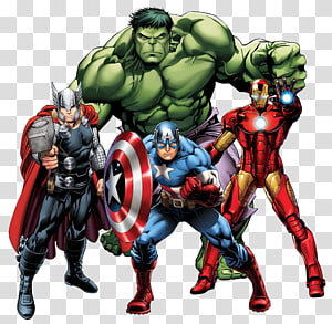 Thor, Captain America, Iron-Man, and Hulk, Thor Iron Man Marvel Comics Marvel Cinematic Universe Comic book, AVANGERS PNG clipart