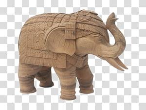 African elephant Indian elephant Wood carving Elephantidae, wood PNG