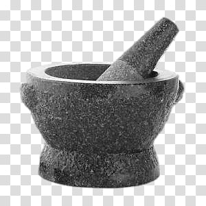 grasyscale of mortar and pestle, Granite Pestle and Mortar PNG