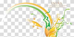 white, green, and orange liquid illustration, Flag of India Tricolour, color splash PNG clipart