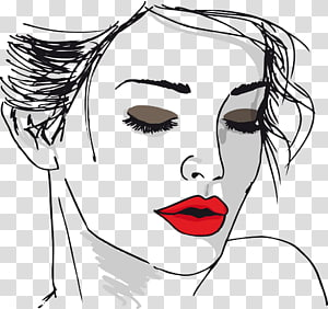 woman's face portrait illustration, Drawing Face Woman Sketch, Sexy woman painted red lips line PNG clipart