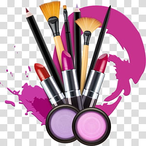 Cosmetics Lipstick Make-up artist , Makeup, makeup brush and assorted-color lipstick PNG clipart
