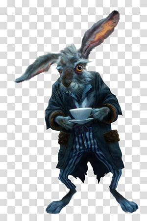 rabbit holding teacup illustration, White Rabbit Alices Adventures in Wonderland March Hare Red Queen The Mad Hatter, Fairy tale rabbit PNG clipart