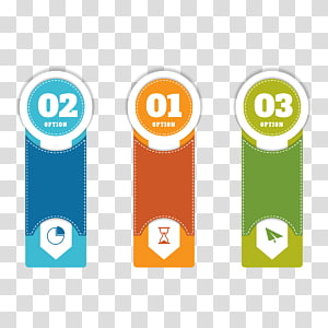 three multicolored labels, PPT step PNG