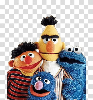 four Sesame Street characters illustration, Sesame Street Group PNG