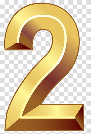 Number Gold , Gold Number Two , number 2 animated PNG clipart