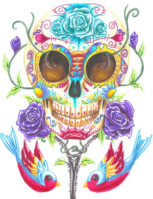 Death Calavera Day of the Dead Tattoo Skull, Day Of Dead Background PNG