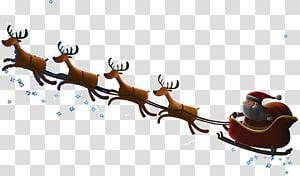 santa claus riding a snow deer PNG clipart