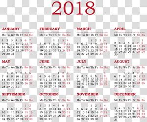2018 calendar poster, Calendar New Year , 2018 Calendar PNG clipart