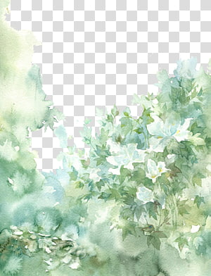 green leaves painting, Chinese antiquity beautiful watercolor illustration PNG clipart