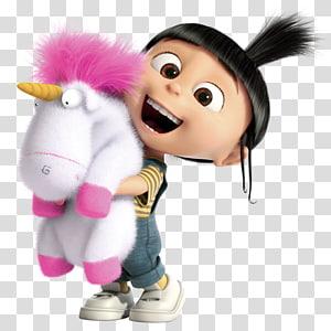 girl carrying unicorn plush toy, Despicable Me Agnes Margo Edith Stuart the Minion, despicable me PNG clipart
