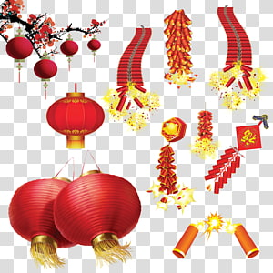 Lantern Festival Firecracker Chinese New Year, Chinese New Year Lantern PNG