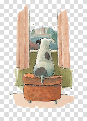 Visual arts Drawing Watercolor painting Illustration, Dog look out the window PNG
