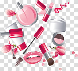 cosmetic product lot , Cosmetics Lipstick Make-up artist, Hand painted female cartoon cosmetics PNG clipart