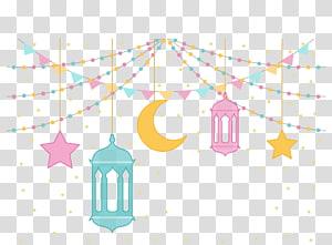 four assorted-color hanging decor , رمضان كريم Ramadan Eid al-Fitr Islam Illustration, Ramadan PNG clipart