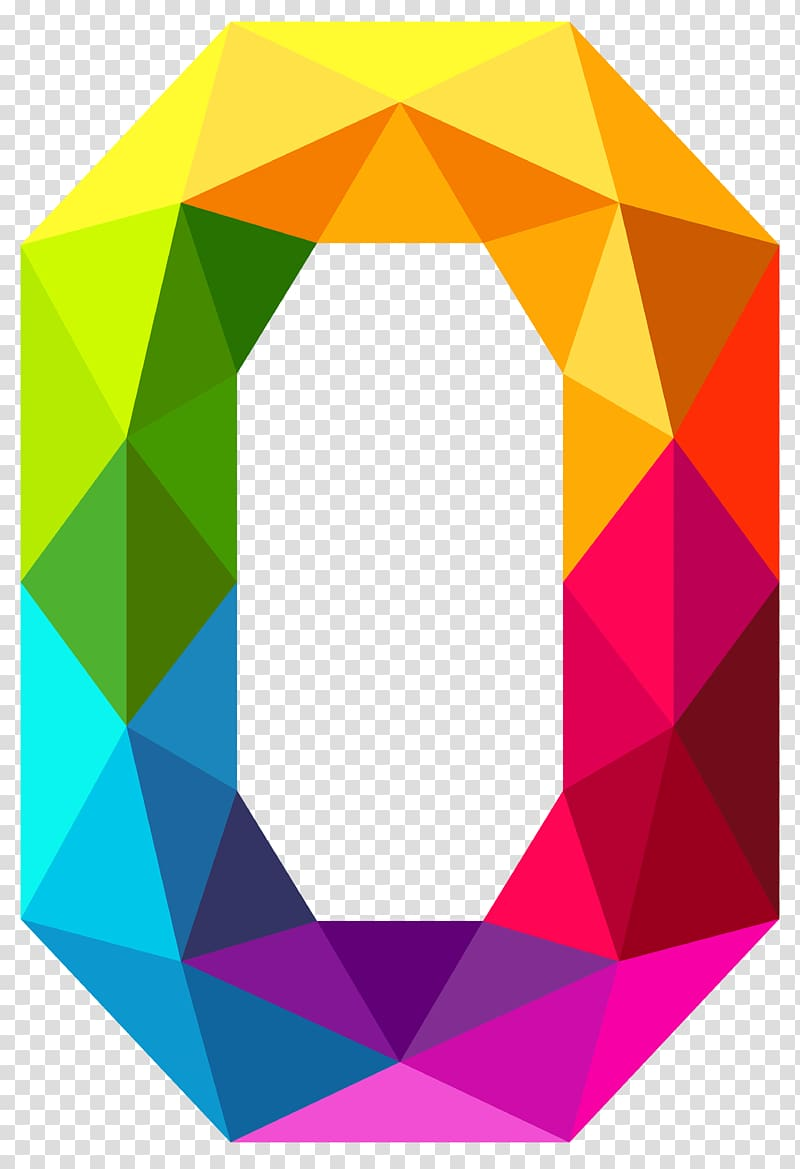 0 Number , Colourful Triangles Number Zero , multicolored geometrical zero symbol PNG