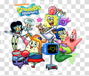 Sandy Cheeks Patrick Star Plankton and Karen Squidward Tentacles Mr. Krabs, ghost ship PNG