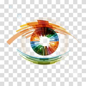 orange and green eye vision , Eye Icon, Bright Eyes PNG