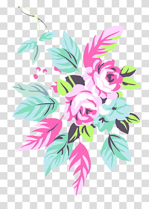 Pink Floral design Flower, Hand-painted roses PNG