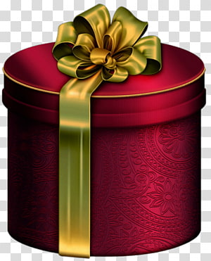 round red gift box with green ribbon illustration, Christmas gift Box , Red Round Present Box with Gold Bow PNG clipart