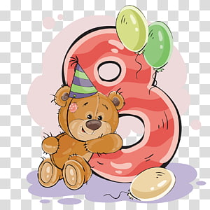 bear and number 8 artwork, Teddy bear Illustration, number Teddy 8 PNG clipart