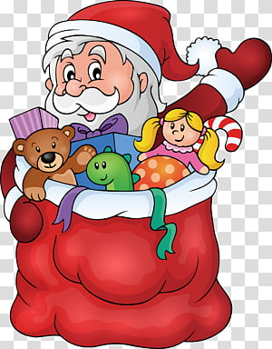 santa claus holding a gift PNG clipart
