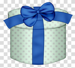blue ribbon , Christmas gift Box , White Round Gift Box with Yellow Bow PNG clipart