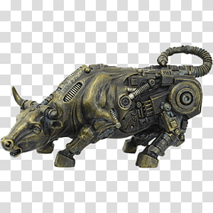 Cattle Charging Bull Steampunk Sculpture, agressive bull PNG clipart