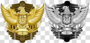 gold and silver emblems, National emblem of Indonesia Garuda Pancasila, others PNG clipart
