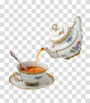 floral ceramic teapot pouring tea in teacup on saucer, Teapot Teacup Tea party, Continental tea PNG