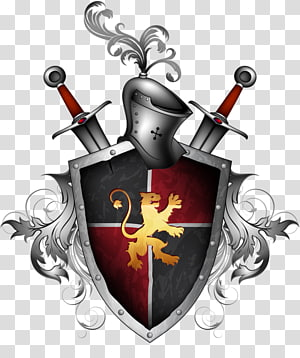gray, red, and yellow knight armor, sword, and shield, Sword Shield Illustration, Metal Shield PNG