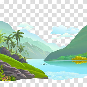 body of water between mountains , Mount Scenery Illustration, Small rivers and rivers scenery PNG clipart