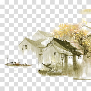 gray house near swing , Dwelling in the Fuchun Mountains Jiangnan Ink wash painting Shan shui Chinese painting, Water PNG clipart