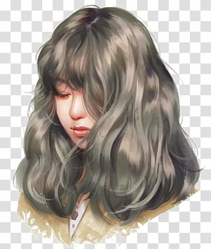 female portrait animated , Drawing Work of art Painting Anime, Long-haired girl PNG clipart