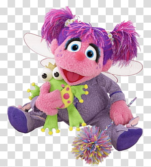 pink puppet plush toy, Sesame Street Abby Ladabby and Frog PNG
